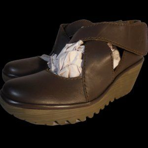 Fly London Yogo Brown Leather Criss Cross Wedge